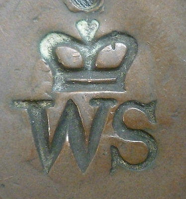 Countermarked :- Crowned W S , On Worn Irish Copper Penny 1820's