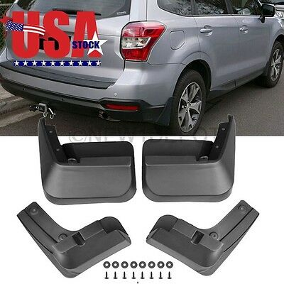 US 4X ABS Black Front Rear Splash Guards Mud Flaps For Subaru Forester 14-15 ND