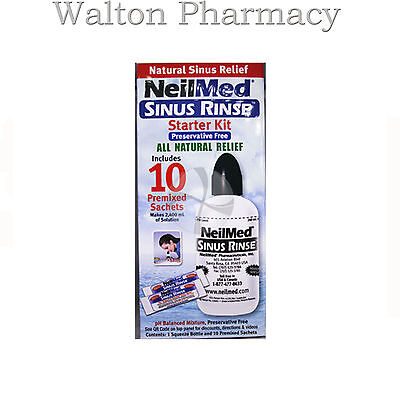 NeilMed Sinus Rinse STARTER Kit with 10 Sachets saline nasal wash kit pres free