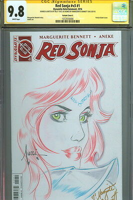 CGC SS 9.8 Billy Tucci Original Cover Art Sketch Red Sonja 1 Marguerite Bennett
