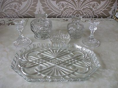 Vintage Retro Dressing Table Glass Set Clear Ring Holder Trinket Boxes