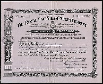 Royal Mail Steam Packet Co., ordinary stock, 1921, capital £25 million