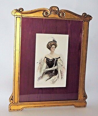 Antique 1909 The Bobbs Merrill co Print of a Victorian Woman - Signed/Framed