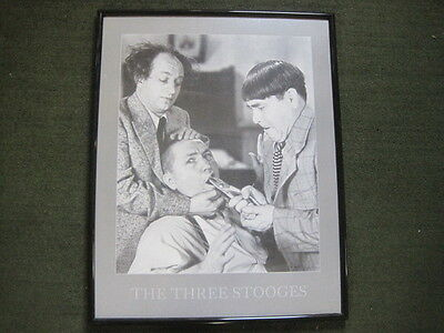 """Three stooges framed - At The Dentist - poster - 28"""" x 22"""" - EXCELLENT!"""