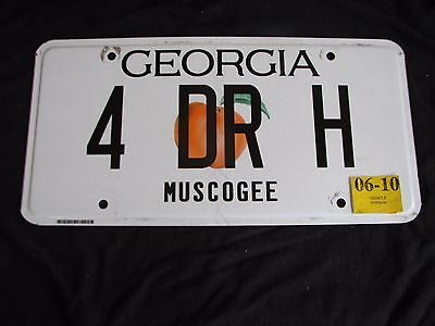 "Georgia Vanity License Plate ""4 Dr H"" Hall Hart Hill Holmes Harris Hyde Humphrey"