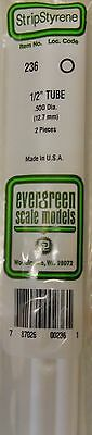 "Evergreen Strip Styrene 236.  2 Pieces of 1/2"" TUBE."