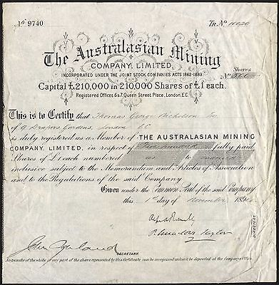 Australasian Mining Company Ltd., £1 shares, 1894. Queensland