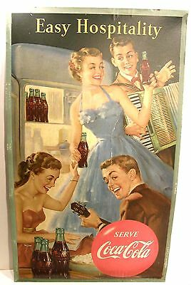 VINTAGE 1953 COCA-COLA COKE ADVERTISING CARDBOARD POSTER EASY HOSPITALITY 16x27