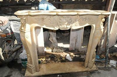 Hand Carved Beige Marble Fireplace Mantel, French Design