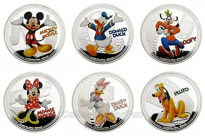 Mickey Mouse And His Friends Silver Plated Commemorative 6-Coin Token Set