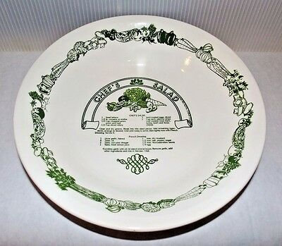 "Vintage Royal China Jeannette Chef's Salad Recipe Bowl 12"" Green & White"