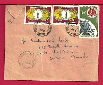 1986 Madagascar Tri Franked Airmail Cover Antanarivo Cancel To Canada 17