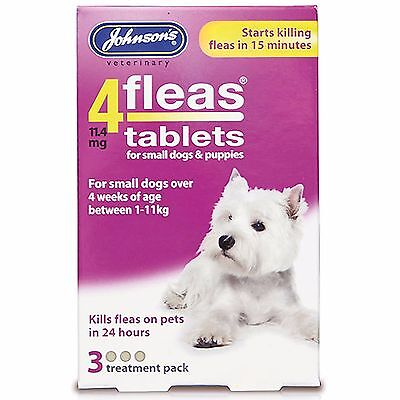 Johnsons 4Fleas Flea Tablets For Puppies And Small Dogs 3 Treatment Pack 1-11kg