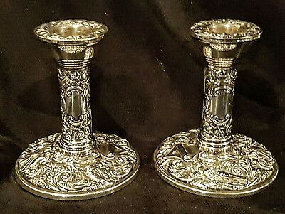 Pair of Art Nouveau Antique style Hallmarked solid sterling silver Candlesticks