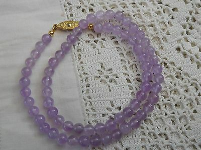 Lovely Vintage 1960s LAVENDER Amethyst Bead Necklace
