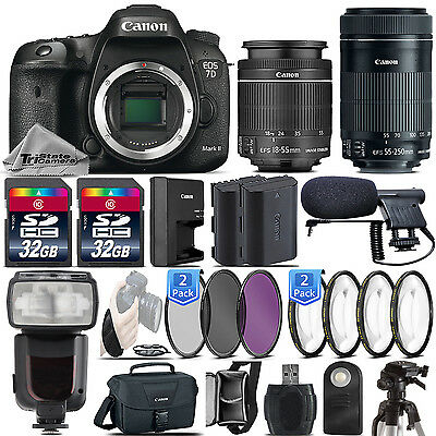 Canon EOS 7D Mark II DSLR 20.2MP Camera 9128B002 + 18-55mm IS STM + 55-250mm STM