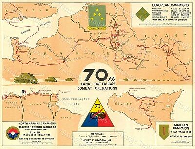 70th Tank Battalion Armored Regiment Campaign Map Thunderbolts WWII MILITARY MAP