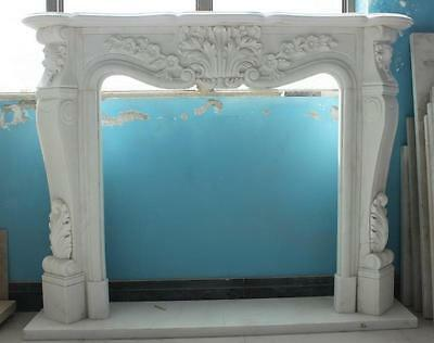 Classic French Design White Marble Fireplace Mantel, Floral Carvings