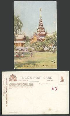 Burma Old Tuck's Oilette Postcard The Centre of Universe Mandalay, Pagoda Temple