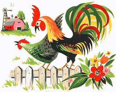 XL CounTrY FaRM RooSTeRs ShaBby DeCALs ~FuRN SiZe~
