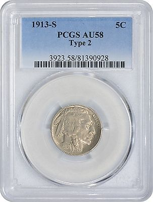 1913-S Buffalo Nickel Type 2 AU58 PCGS Type 2 Almost Uncirculated 58