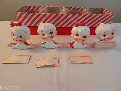 4 Vintage Holt Howard Japan Christmas Boy Girl Place Card Holders IOB Red Green
