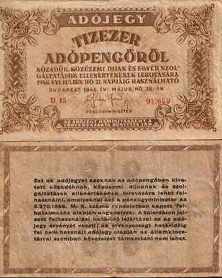 Hongrie - Hungary 10 000 (Tiziger) ADOPENGO 1946 - Pick 143a  (VF)