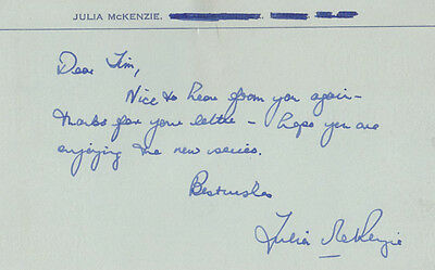Julia McKenzie Hand Signed Personal Letter On Card