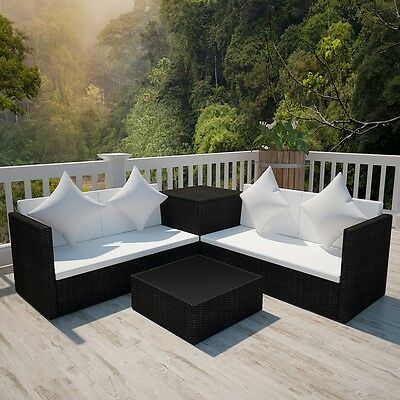 Black Wicker Rattan Garden Set Outdoor Sofa Lounge Couch Two-Seater Storage Box