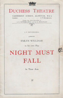 Night Must Fall Angela Baddeley of Upstairs Downstairs London Theatre Programme