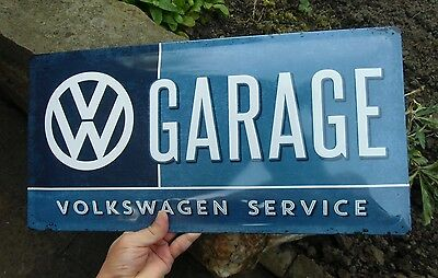 VW VOLKSWAGEN GARAGE SERVICE Embossed Wall Sign Beetle Bus Samba Made in Germany