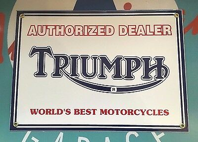 "classic TRIUMPH MOTORCYCLES "" WORLDS BEST"" - Porcelain coated Metal Sign"