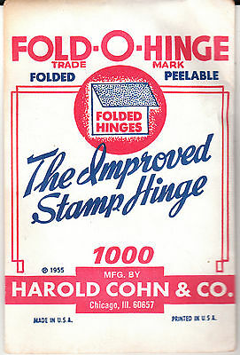 """1 Pack Of """"Green"""" Fold-O-Hinge The 3Rd Best Stamp Hinges Ever Made Folded 1000"""