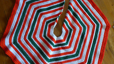Vintage Hand Knit Striped Christmas Tree Skirt Red White Green
