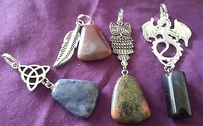 Wow - Bulk Lot 4 X Handcrafted Double Gemstone Pendants - Free Post