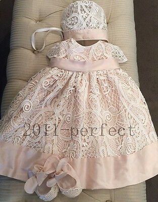 Baby Infant Outfit Lace First Communion Baptism Gown Christening Dresses +Bonnet