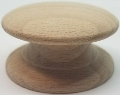 "2"" Round BIRCH Hardwood Wood Grain Knob WIDE Base pull handle antique vintage"