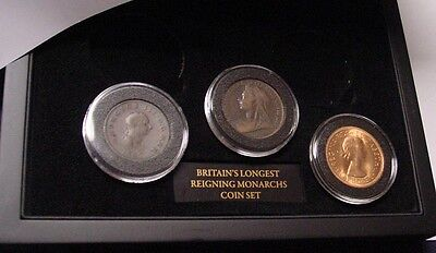Britain's Longest reigning Monarchs, 3 coin set, handsome packaging.