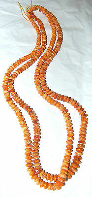 "ORANGE SPINY OYSTER RONDELLE BEADS -  ONE (1) 22"" Strand"