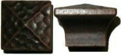 Mission Style Hammered Square Pyramid - Cast Brass Knob Copper Finish vintage