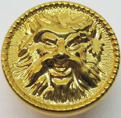 "Victorian Style ""Green Man"" CAST BRASS KNOB 1.312"" diameter vintage antique pull"