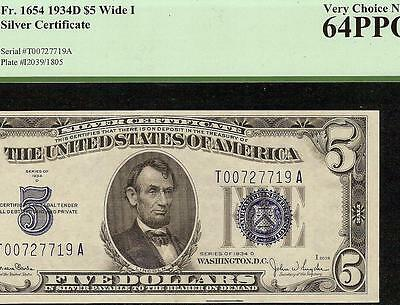Unc 1934 D $5 Dollar Bill Silver Certificate Blue Seal Note Currency Pcgs 64 Ppq