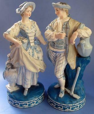 Charles Levy Antique French Porcelain Old Figure Pair  Hand Painted