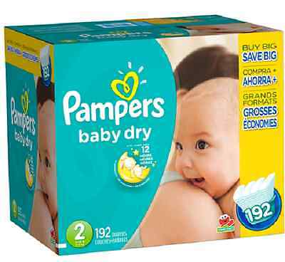 New Pampers Baby Dry Size 2 Diapers Super Economy Pack - 192 Count