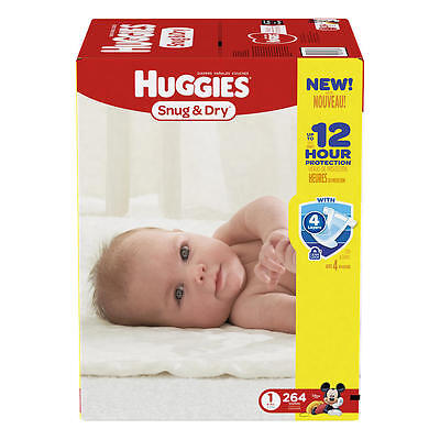 New Huggies Snug and Dry Size 1 Baby Disposable Diapers - 264 Count