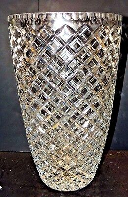 large Czech Republic  crystal cross cut vase