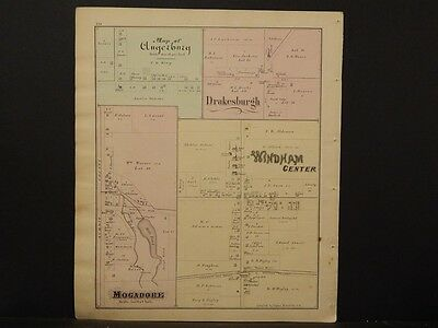 Ohio Portage County Map 1874, Mogadore, Windham Center, Double Sided, J1#30