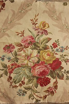 Vintage French fabric floral BEAUTIFUL c 1900 printed cotton