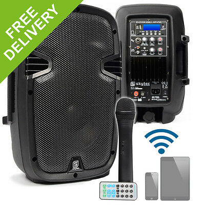 "Skytec 10"" Active Bluetooth PA Speaker System Gym Wireless Microphone DJ 400W"