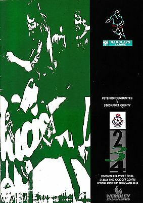 Football Programme PETERBOROUGH UNITED v STOCKPORT May 1992 Div 3 Play-Off Final